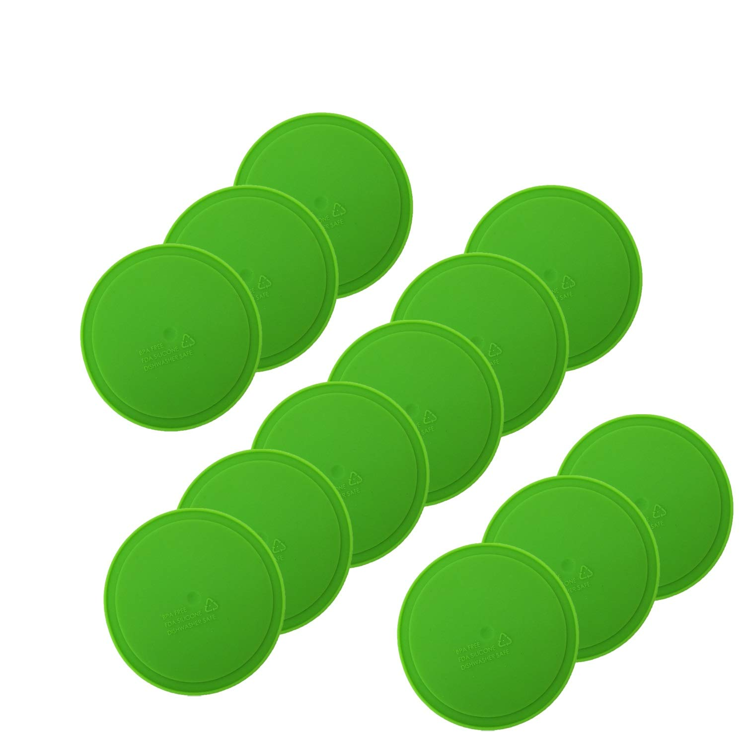 THINKCHANCES Leak Proof Food Safe and BPA Free Silicone Sealing Lid Inserts/Liners for Mason, Ball, Canning Jars (Regular Mouth, Green)