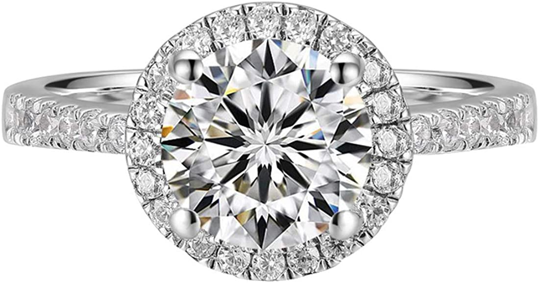 FANCIME White Gold Plated Sterling Silver Round Halo Setting D-E Color 6.5mm Central Moissanite 1 Carat Simulated Diamond Engagement Ring Wedding Band For Women, FULL Carat