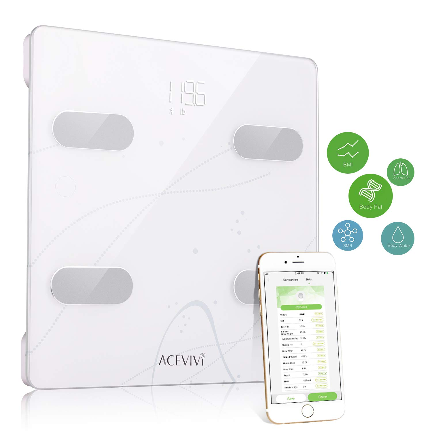ACEVIVI Weight Body Fat Scale, Digital Bathroom Scale Bluetooth, Smart BMI Scale Body Composition Analyzer with Smartphone App - 13 Essential Measurements (white1)