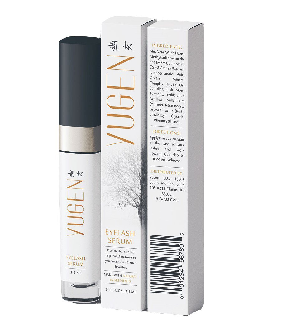 Yugen Eyelash Growth Serum for longer, thicker eyelashes and fuller eyebrows! Eyelash enhancer to repair damage from eyelash curlers or over plucking eyebrows! Grow all natural luscious lashes!