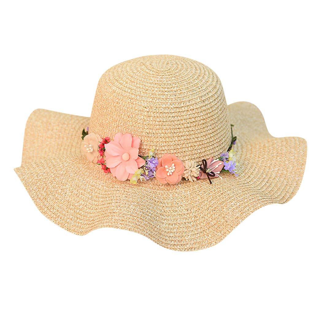 FEDULK Women Sun Beach Straw Hat Jazz Sunshade Big Wide Brim Elegant Panama Fedora Hat Wreath Cap(Khaki, One Size)