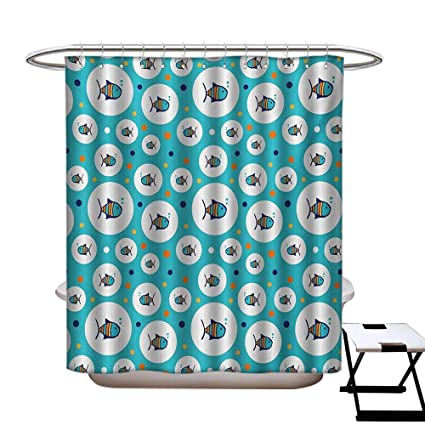 BlountDecor Fish Shower Curtains Fabric Extra Long Colorful Spotty Pattern With Sea Animals Inside Bubble Shapes