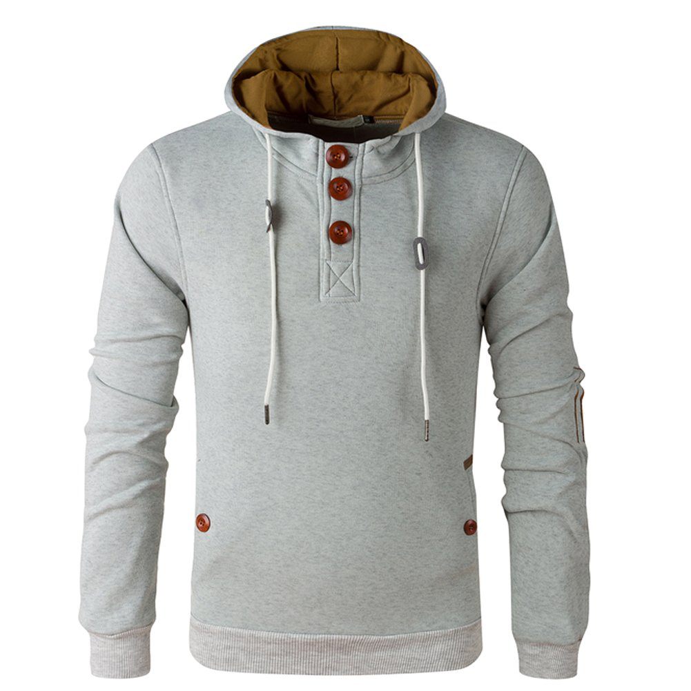 Men's Fleece Lined Pullover Bomber Henley Jacket Hoodie Sweatshirt OCHENTA O622-08