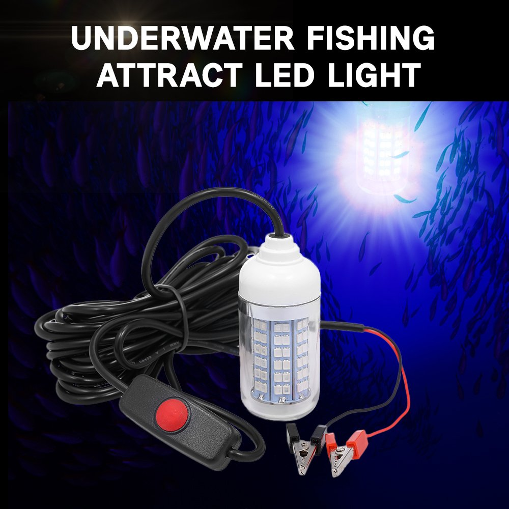Lixada 12V 15W Underwater Fishing Attract Light LED Lamp Fish Finding System Light with 30ft Power Cord and Battery Clip by Lixada (Image #8)
