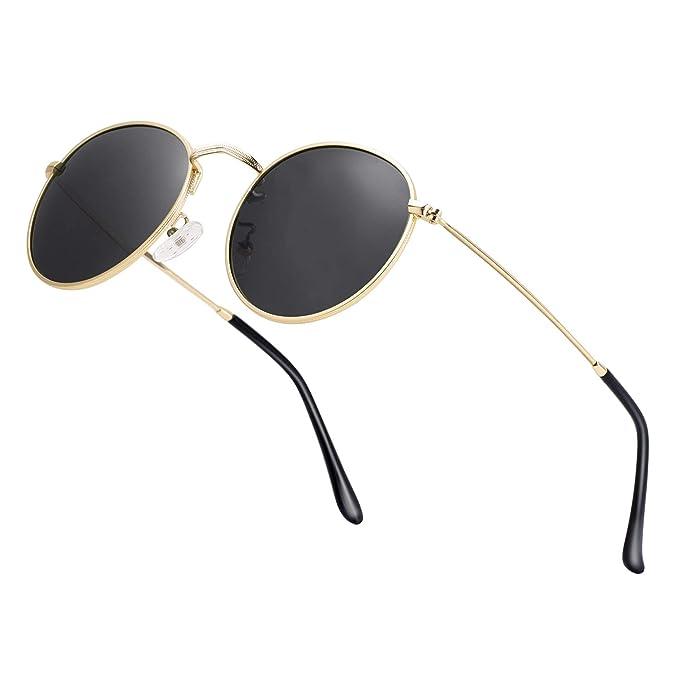 660e208728f0 Unisex Round Sunglasses Vintage Retro Polarized Sun Glasses for Men Women  Metal Frame Circle Shades