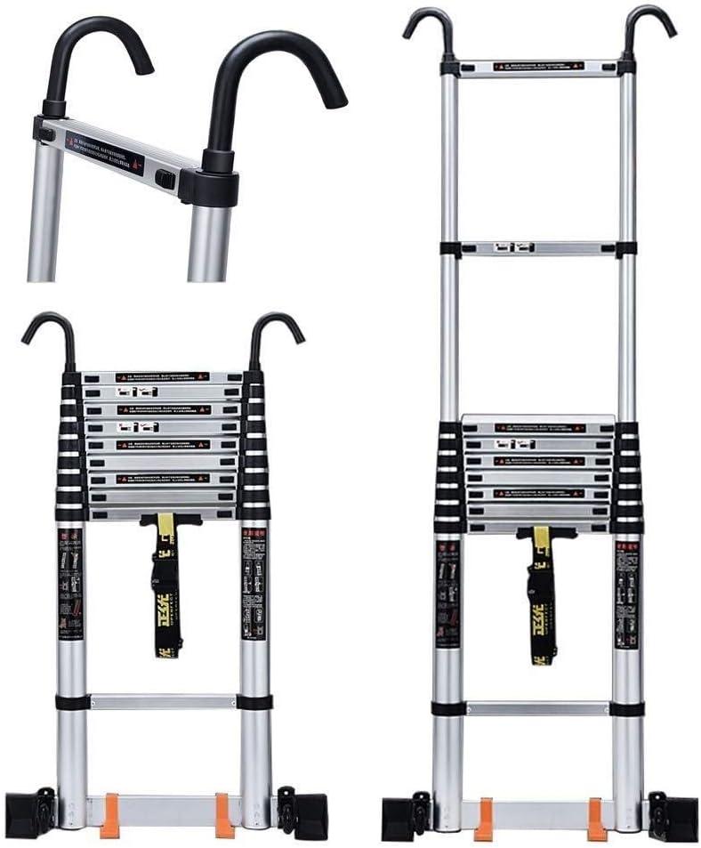 WaJaCg Polea Escalera de extensión telescópica Aluminio con Ganchos de Techo Subir más Escalera Tipo Loft Extensión Escalera de Mano Plegable Extensible Capacidad Exterior 150 kg / 330lb: Amazon.es: Hogar
