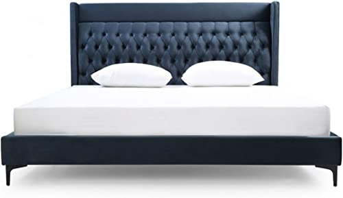 Limari Home The Izak Collection Modern Tufted Fabric Upholstered King Bed