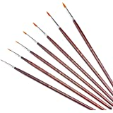 Transon Detail Model Paint Brushes 7pcs for Acrylic, Gouache, Oil, Tempera and Face Painting
