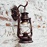 Injuicy Lighting Vintage Retro E27 Edison Industrial Barn Lantern Metal Glass Wall Lights Lamps Shades Iron Kerosene Wall Sconces Fixtures for Aisle Balcony Stairs Bedroom Cafe Bar Indoor Antique Brass Copper