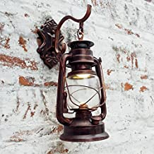Injuicy Lighting Vintage Edison Barn Lantern Iron Kerosene Lamp Oil Light Wall Aisle Red Copper Color Industrial