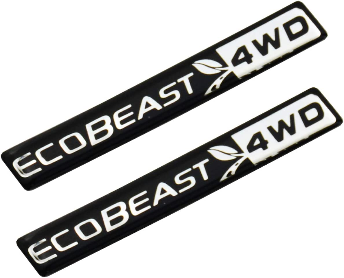 Pair Of 2 ECOBEAST Ecoboost Decals Fender 3D Car Sticker Emblem Replacement For 2011-2019 F150 Chrome//Black