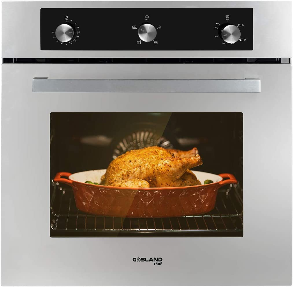 """Single Wall Oven, GASLAND Chef GS606MS 24"""" Built-in Natural Gas Oven, 6 Cooking Function Convection Gas Wall Oven with Rotisserie, Mechanical Knob Control, 120V Electric Ignition, Stainless Steel"""