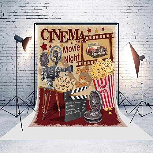 5ft(W) x7ft(H) Cinema Movie Night Backgrounds Popcorn Retro Car Baby Shower Wedding Birthday Party Decorations Microfiber Photo Backdrop Studio Props