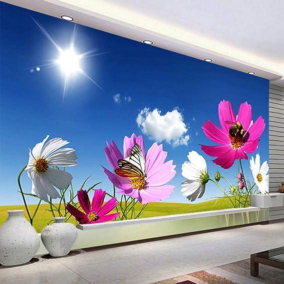 Zxdxd Custom Photo Mural Wallpaper Cielo azul Nubes