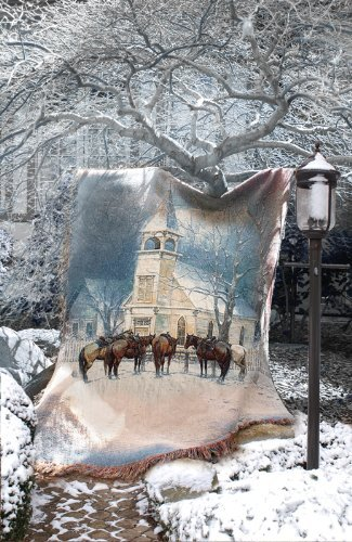 Sunday Social Club (Winter Frost Sunday Social Club Horse Tapestry Throw Blanket 50