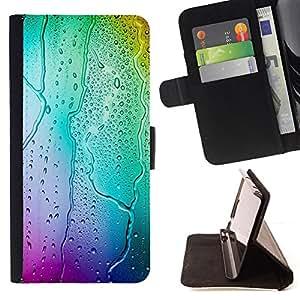 For Samsung Galaxy A3,S-type Colores Bokeh Agua- Dibujo PU billetera de cuero Funda Case Caso de la piel de la bolsa protectora