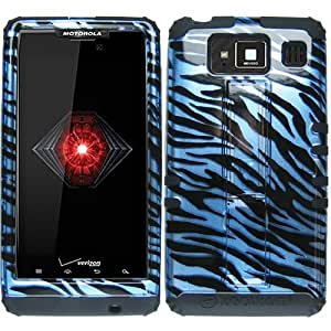 Black Zebra Blue HyBrid Rubber Soft Skin Kickstand Case Hard Cover Faceplate For Motorola Droid Razr Maxx Max Hd Razor 926M with Free Pouch