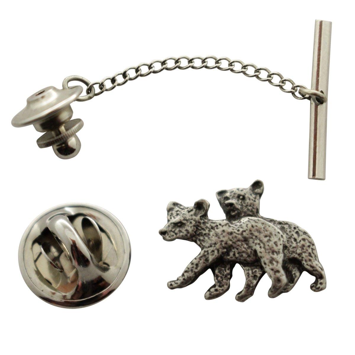 Twin Bear Cub Tie Tack ~ Antiqued Pewter ~ Tie Tack or Pin ~ Sarah's Treats & Treasures by Sarah's Treats & Treasures (Image #1)