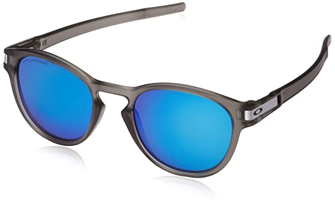 blue oakley glasses g8qm  Oakley Men's Latch OO9265-08 Polarized Iridium Round Sunglasses, Matte Grey  Ink, 526
