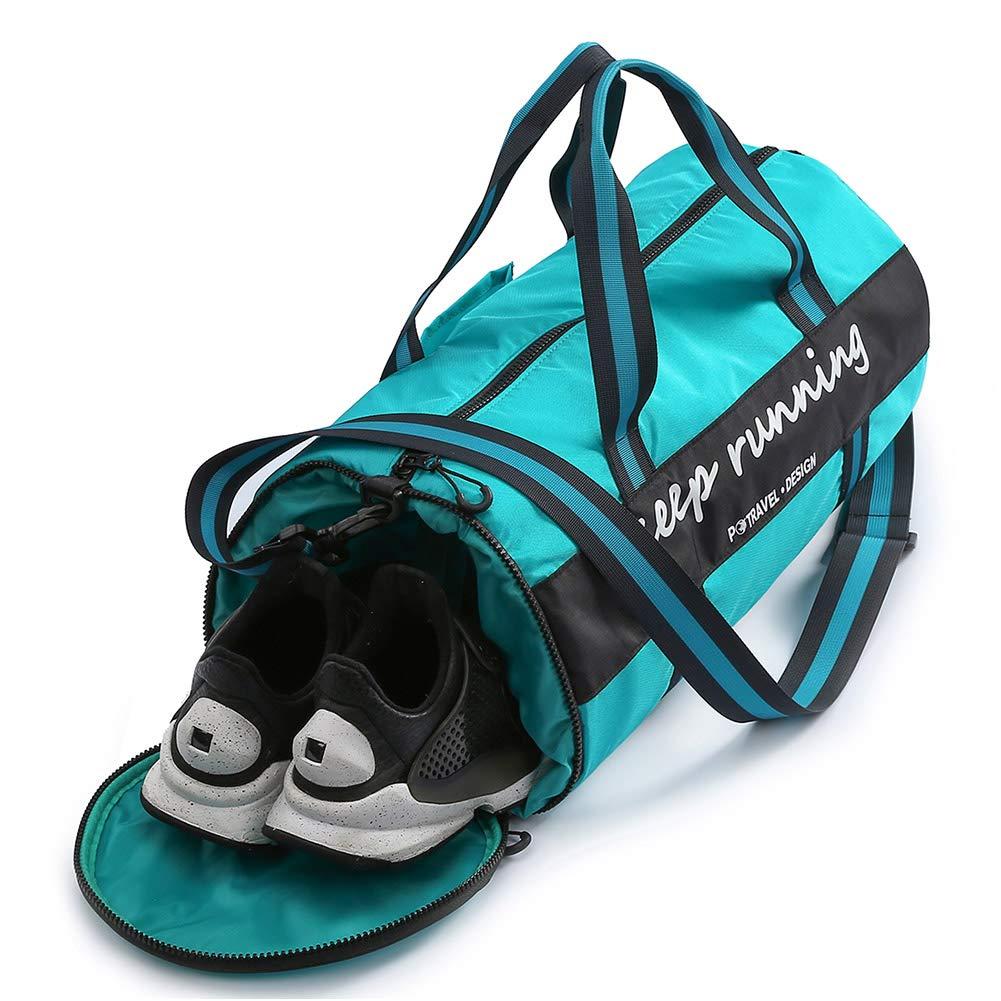 Sports Gym Bag Duffel Bag with Wet Pocket & Shoes Compartment,Waterproof Travel Duffel Bag Training Handbag Yoga Bag Weekender Overnight Bag for Men and Women 35L - Green