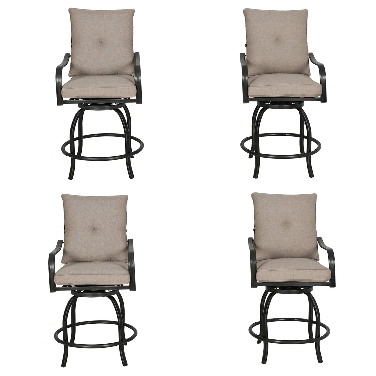 Iwicker 4 Piece Outdoor Swivel Bistro Bar Stool