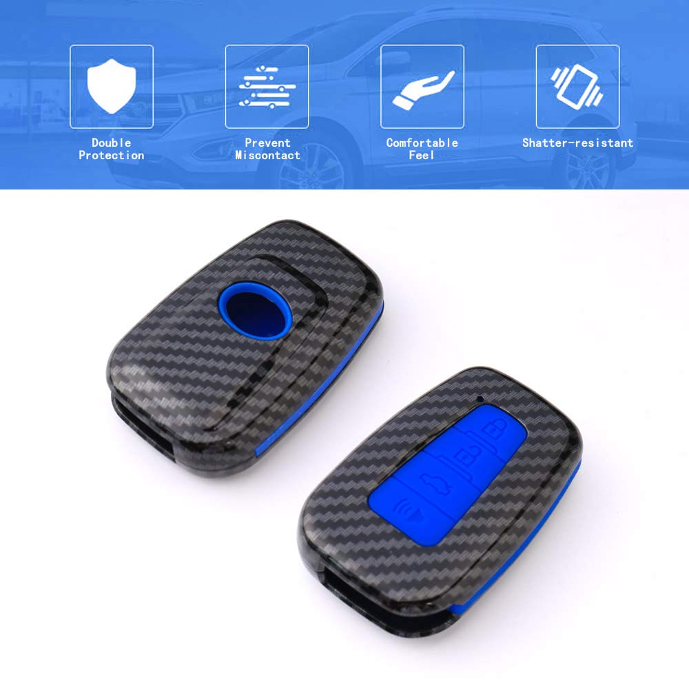 TANGSEN Smart Key Fob Case for Toyota Avalon Camry Corolla Hatchback C-HR Prius Prime RAV4 4 Button Keyless Entry Remote Personalized Protective Cover Plastic Carbon Fiber Pattern Blue Silicone