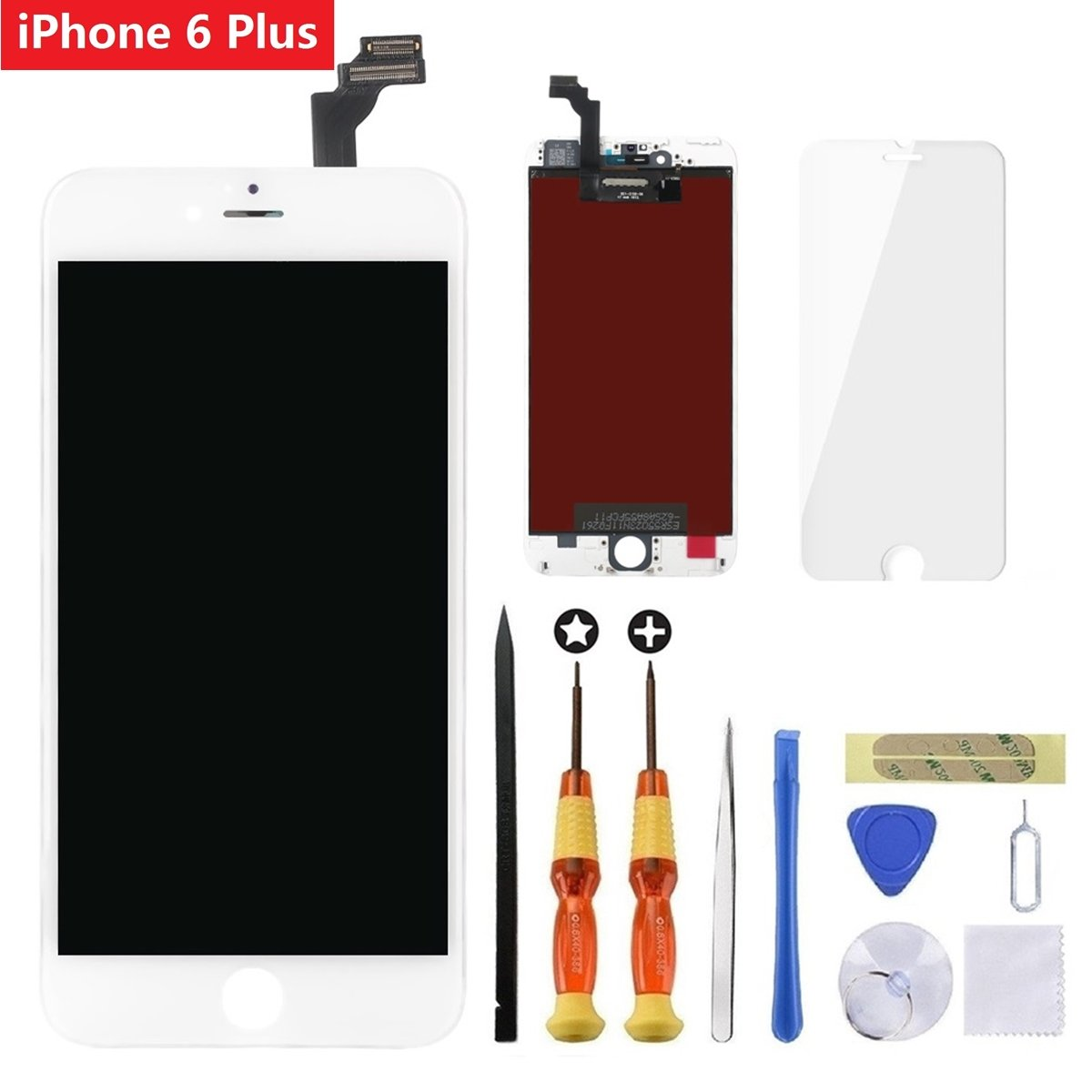 for White iPhone 6 Plus 5.5 inch Screen Replacement Retian LCD Touch Screen Digitizer Fram Assembly Full Set with Tempered Glass Screen Protector + Tools + Instructions by Brinonac