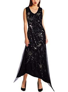 e4664d1ca0ee9 Vijiv Womens Vintage 1920s V Neck Flapper Dress Sequin Beaded Irregular Long  Evening Dresses