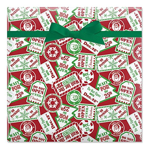 Do Not Open Until Christmas Jumbo Rolled Gift Wrap - 67 sq ft.