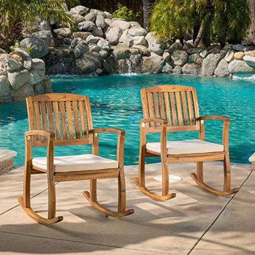Contemporary, Modern Lucca Outdoor Acacia Wood Rocking Chair with Cushion (Set of 2) – 298177. Weather Resistant Polyester Fabric Cushion Material. Assembly Required