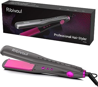 Ribivaul Fer à Lisser, Lisseur à Cheveux en Céramique Professionnel 2 en 1 avec Température Réglable pour Tous les Types de Cheveux