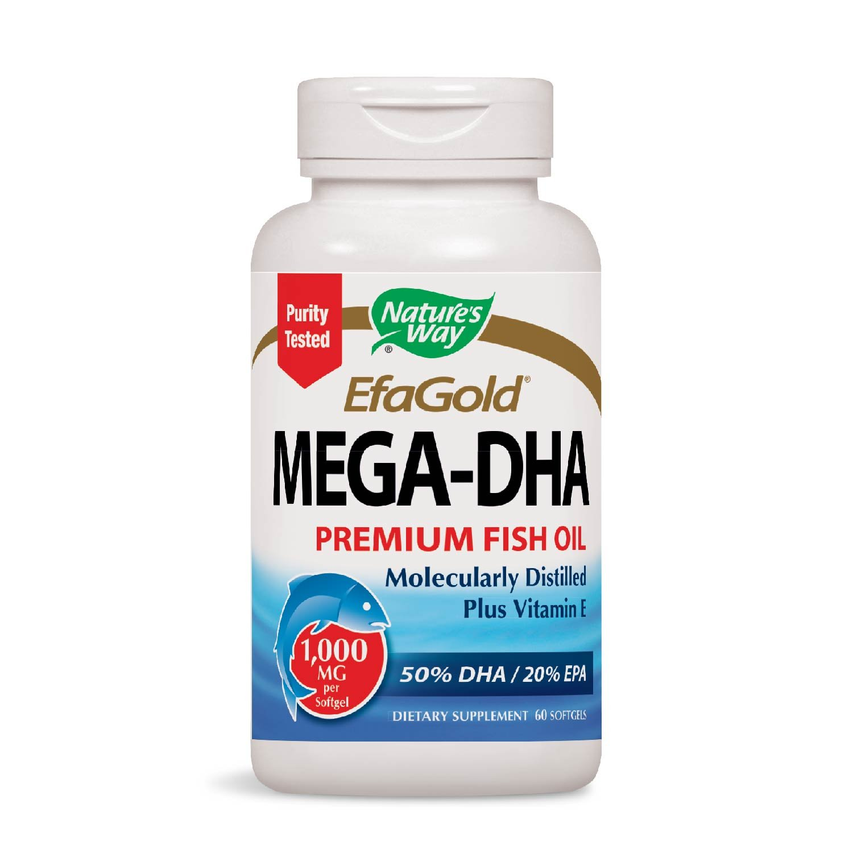 Nature's Way EfaGold MEGA-DHA Premium Fish Oil Supplement + Vitamin E, 1000mg, 60 Softgels by Nature's Way