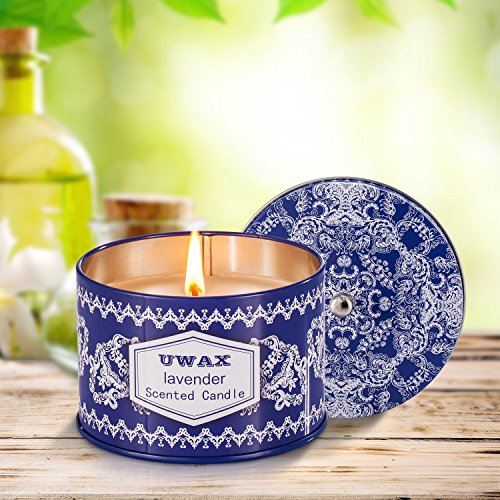 Poured Pure Soy Travel Candle - Uwax Lavender Scented Candles 8.5 Oz Pure Soy Wax Travel Blue & White Tins Large Candle, Fresh and Clean, Gift for Holidays