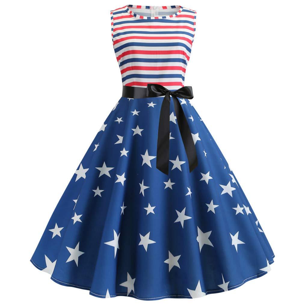 Malbaba Women Fashion Star & Stripe American Flag Print Evening Party Prom Sleeveless Hepburn Dress