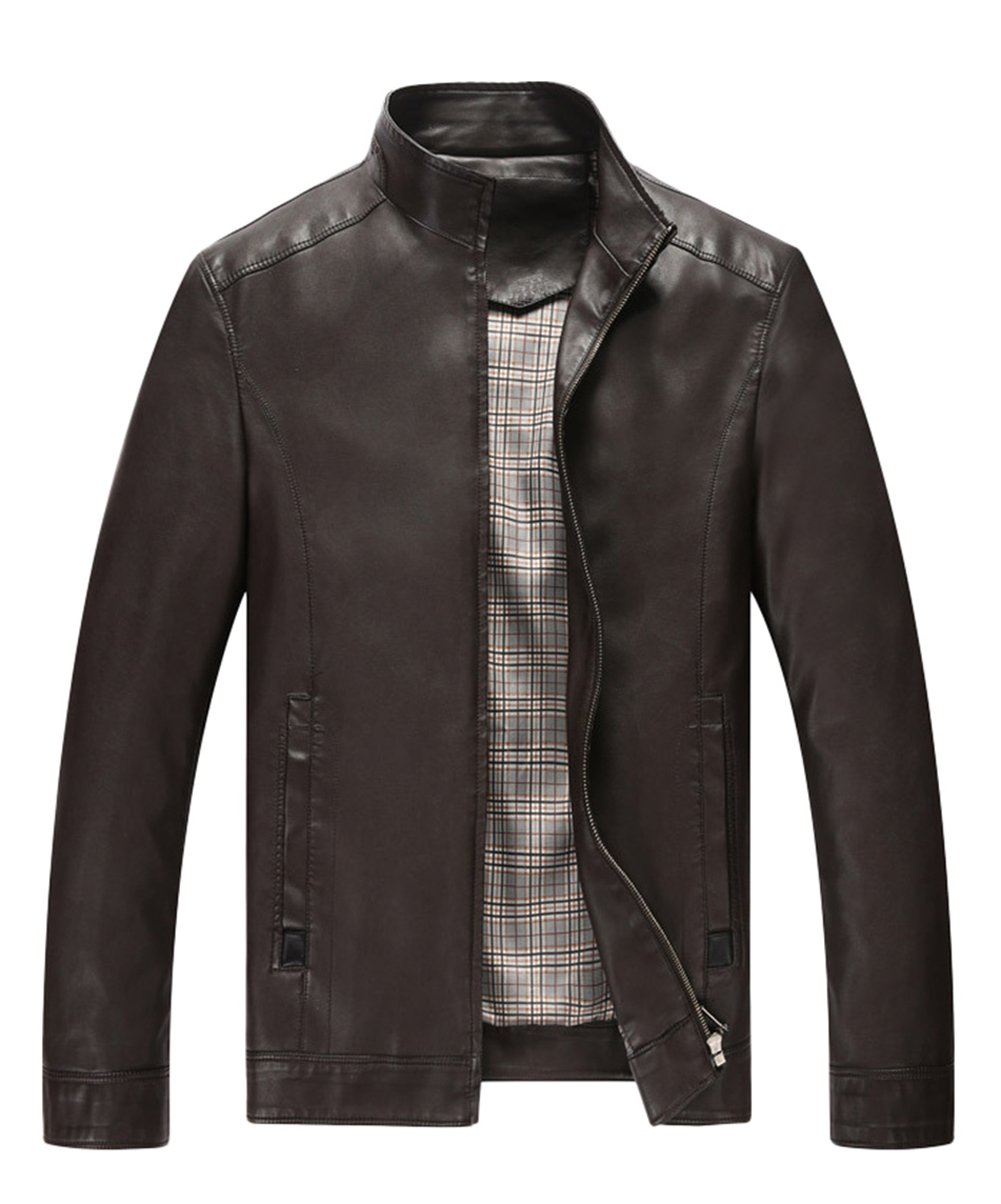 Springrain Men's Stand Collar Long Sleeve Pu Leather Outerwear Jacket (Large, Brown3) by Springrain