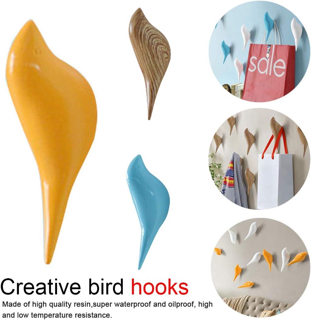 Gancho de decoración de pájaros de Pared Dormitorio Armario Puerta Gancho de Ropa Percha Gancho de Resina 3D