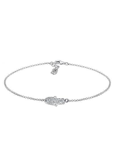 Elli Women's 925 Sterling Silver Hamsa Hand Fatima Swarovski Crystals Anklet 9eGVCzCCd9