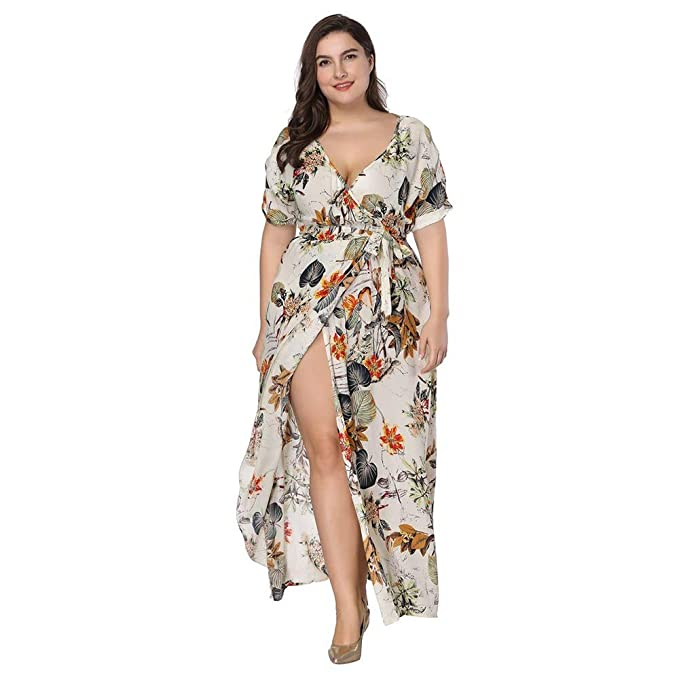 Women\'s Plus Size Floral Slit Wrap Maxi Dress - UA366 ...