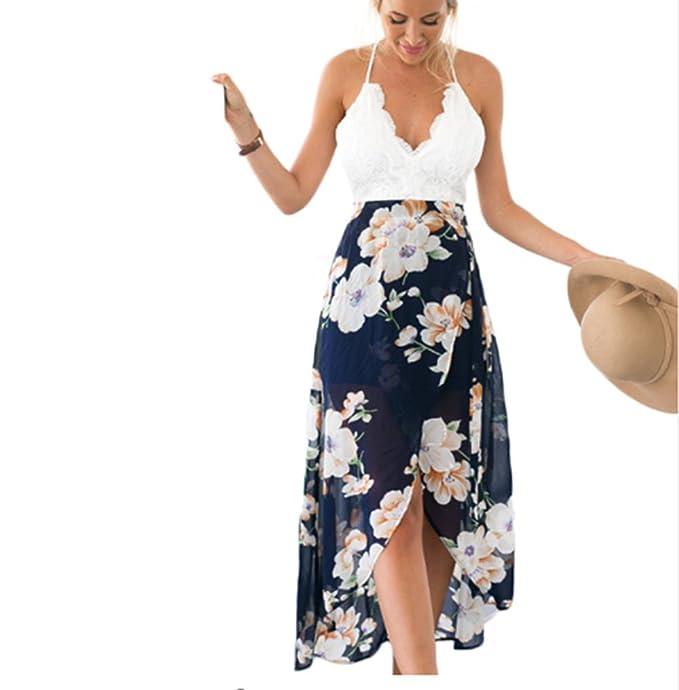 b4839c5308fa Tubaozi Women Floral Print V Neck Lace Patchwork Split Cross Back Tie Beach  Long Dress (
