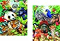 Jigsaw Puzzle - Fun & Easy 2 Puzzle Box Set: Animal Magic & Jungle Magic - Made in The USA by Color Craft Puzzles - Challenge Any Puzzle Lover