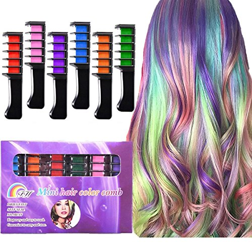 Kyerivs Hair Chalk Comb Disposable Instant Hair Color Cream For Hair Dyeing Party and Cosplay DIY, Works on All Hair Colors, Mini 6PCS