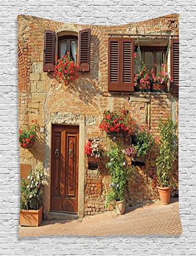 Ambesonne Tuscan Decor Collection, Mediterranean Architecture Houses and Flowers in Italian Hill Town Print, Bedroom Living Kids Girls Boys Room Dorm Accessories Wall Hanging Tapestry, Brown Ivory