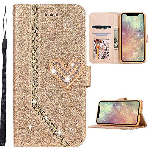 separation shoes e4274 a0901 Glitter iPhone X Case, Luxury Bling Bling Flip PU Leather Wallet Case  Unique Shiny Sparkle Love Heart Diamond Magnetic Buckle Stand Handbag Case  Cover ...