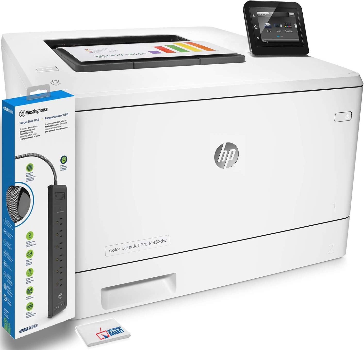 HP Color Laserjet Pro M452dw Laser Printer (CF394A) with Power Strip Surge Protector and Electronics Basket Microfiber Cleaning Cloth