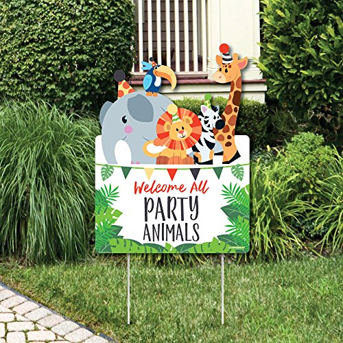 Big Dot of Happiness Jungle Party Animals - Party Decorations - Safari Zoo Animal Birthday Party or Baby Shower Welcome Yard Sign ()