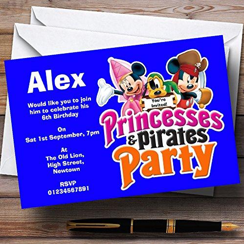Boy's Blue Pirate And Princess Theme Personalized Birthda...