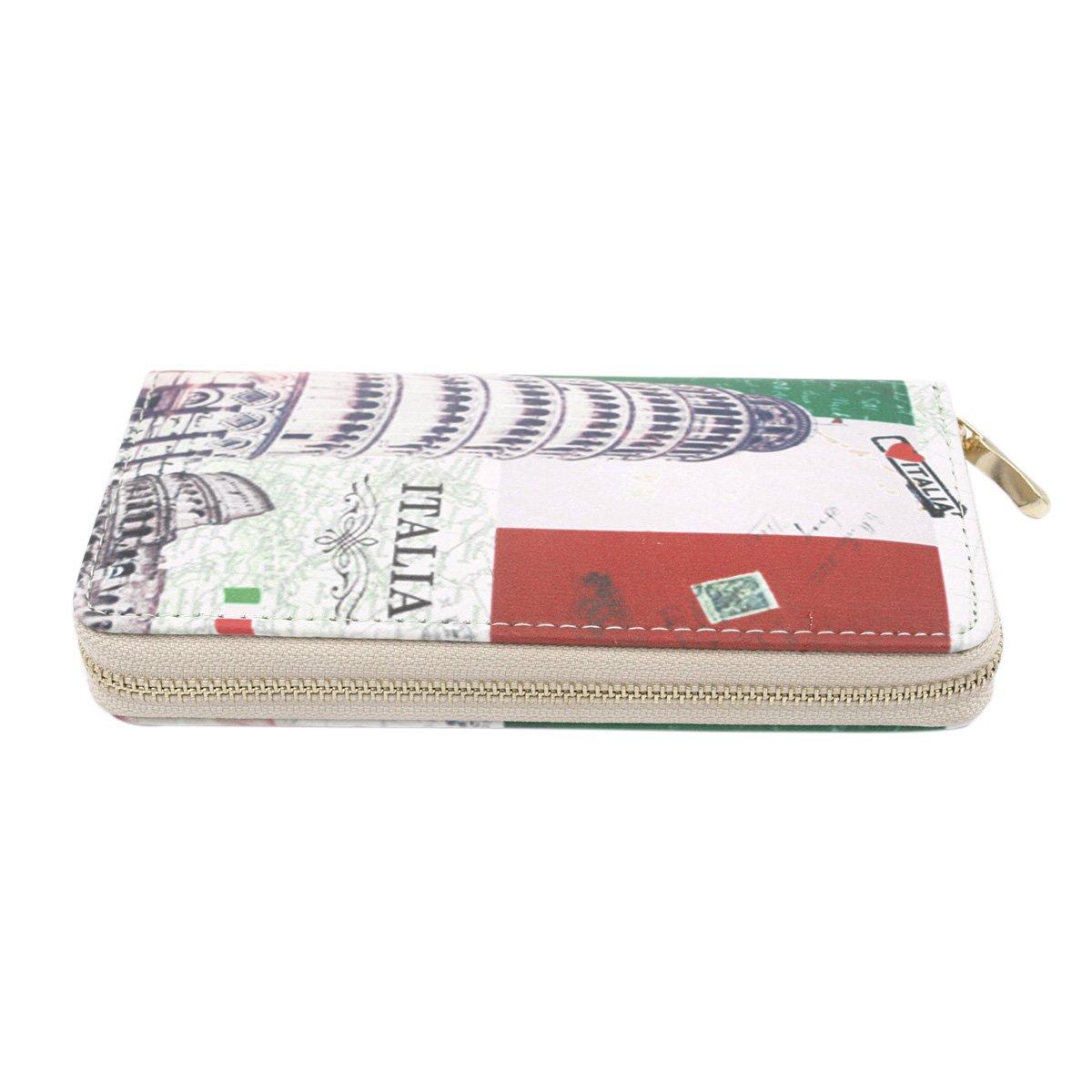 Premium Italy Flag Pisa Tower City Landmark Print PU Leather Zip Around Wallet