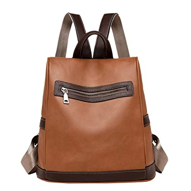 d6027d07ff Amazon.com  TEEGUI Girl Leather School Bag Backpack Satchel Women Travel Shoulder  Bag (Brown)  Shoes