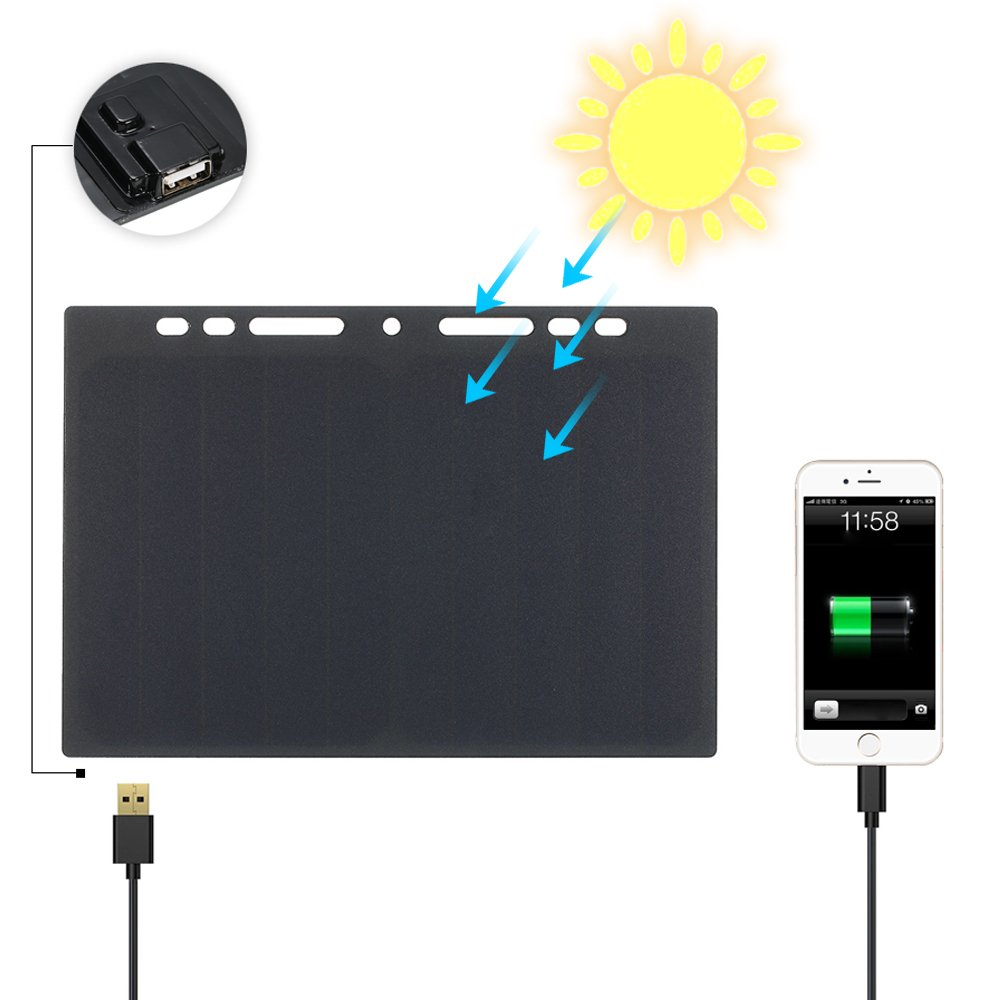 Lixada 10W High Power Paper Shaped Mini Portable Monocrystalline Silicon Solar Panel Charger USB Port for Cell Phone Camping Riding Climbing Travel Outdoor Activity