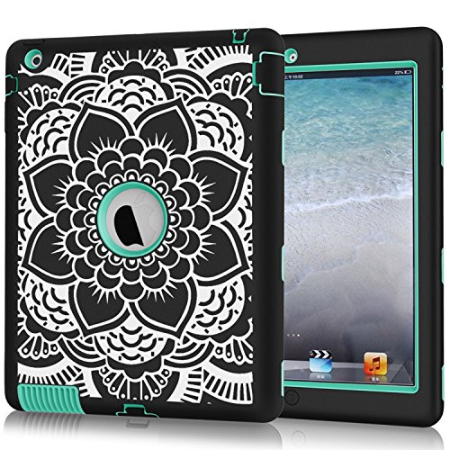 iPad 2/3/4 Case, Hocase Shockproof Heavy Duty Hard Plastic+Silicone Rubber Dual Layer Screenless Protective Case 9.7-inch iPad 2nd/3rd/4th Generation Retina - Black Mandala Floral Print/Teal